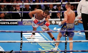David Haye goes down for the third and final time in the fifth round.
