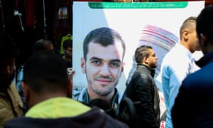 The funeral of Palestinian journalist Yasser Murtaja, who was killed by Israeli forces while filming protests in Gaza on 6 April.