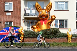 Residents of Belle View Mansions in Southbourne dress up as chickens and erect a huge blow up Easter bunny to show support for the NHS