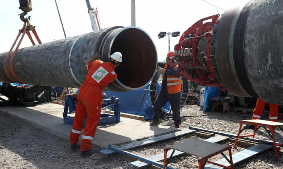 Workers in Russia construct the Nord Stream 2 gas pipeline