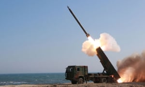 North Korea shows off a new type large-calibre multiple rocket launching system at an undisclosed location. Kim Jong-un has claimed a 'historic' advance in the country's nuclear strike capability.