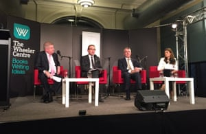(L-R) Mitch Fifield, Adam Bandt, Mark Dreyfus and moderator Patricia Karvelas, at the Wheeler Centre.