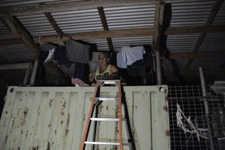 Hassan, a refugee on Manus Island who sleeps on top of a shipping container for safety