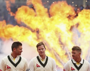 <strong>Day One</strong><br>Michael Clarke; Steve Smith and David Warner of look on during the opening ceremony