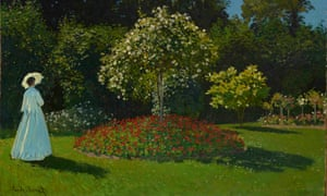 A detail of Claude Monet's painting , Lady in the Garden, 1867