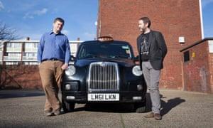 Uber driver James (blue shirt) and black cabbie Seamus Balfe.