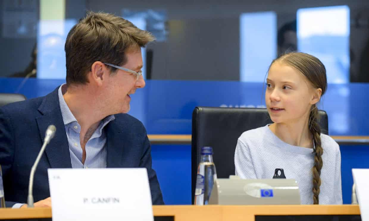 Pascal Canfin and the youth activist Greta Thunberg in March. The chair of the EU parliament's environment committee has said the cost of inaction is too high. Photograph: Isopix/Rex/Shutterstock