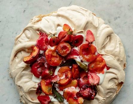 Anna Jones's roasted stone fruit and brown sugar pavlova.