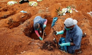Gravediggers of the Vila Formosa cemetery, the largest in Latin America, exhume old graves to open new spaces for those killed by Covid-19, in Sao Paulo, Brazil, on 15 June 2020.