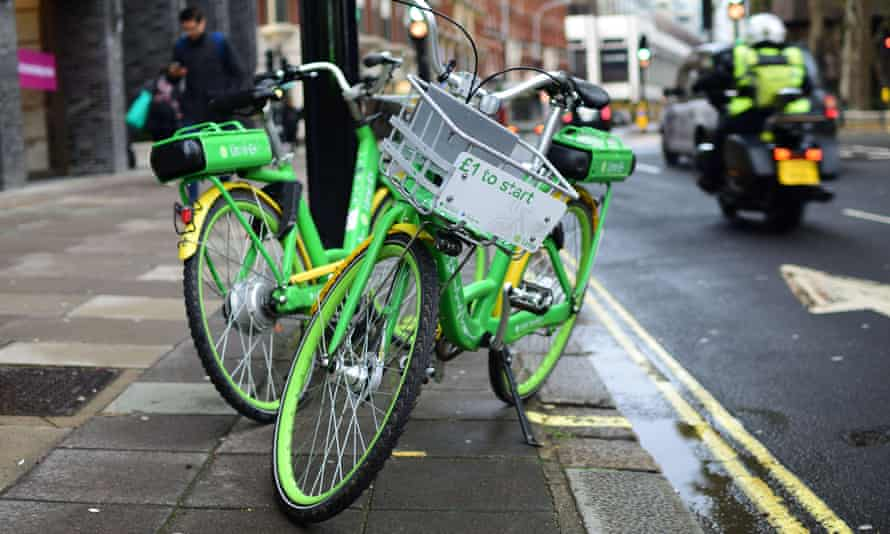 Two Lime-E cycles left on London street