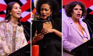 Bhenji Ra, Zadie Smith and Nayuka Gorrie are pictured speaking at events in Melbourne