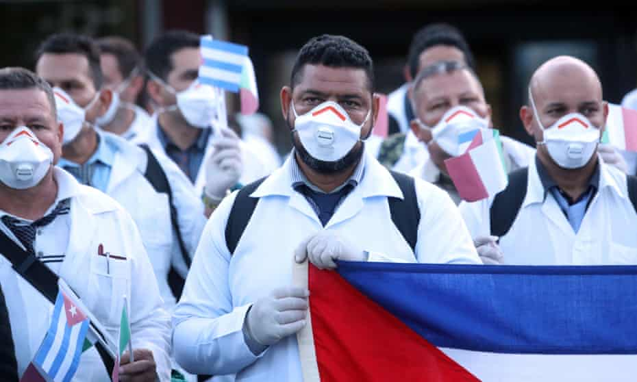 Doctors from Cuba arriving in Italy in March 2020 to assist with the early stages of the coronavirus breakout.