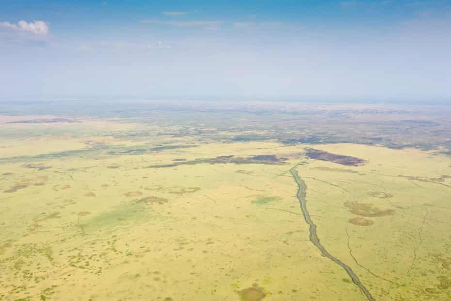 Aerial view of the bed of Lake Chilwa, now covered in grass, October 2020