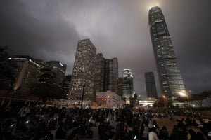 Protesters hold up their smartphone lights during a rally in Hong Kong, Monday.