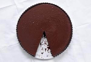Salted chocolate and caramel tart.