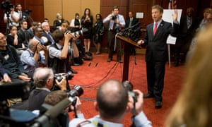 Senator Rand Paul speaks at a news conference in Washington on Wednesday to call for 28 pages of the 9/11 report to be declassified.