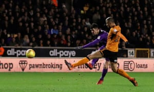 The Portuguese forward Nélson Oliveira hits his thunderbolt equaliser for Norwich deep in injury time against Wolves at Molineux.