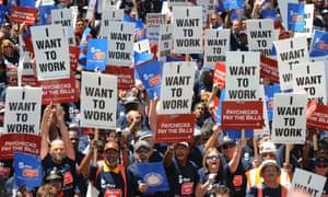 Union members protest demanding jobs