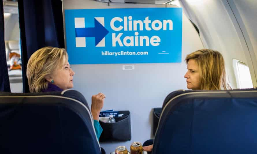 'I couldn't let her go through that hell again' … Palmieri with Clinton on the campaign trail days before the election.