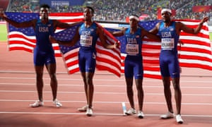 The USA men's relay team celebrated winning the 4x400m final.