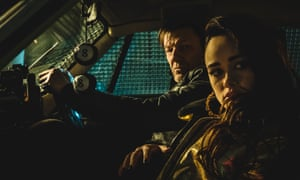 Sean Bean (playing The General) and Rose Williams (playing Faith Palladino) in Curfew (Sky One)
