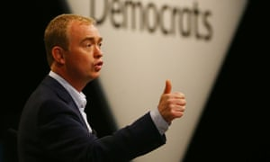 Liberal Democrat leader Tim Farron answers delegates' questions at the party's conference in Brighton.