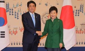 Japanese prime minister Shinzo Abe with South Korean president Park Geun-hye