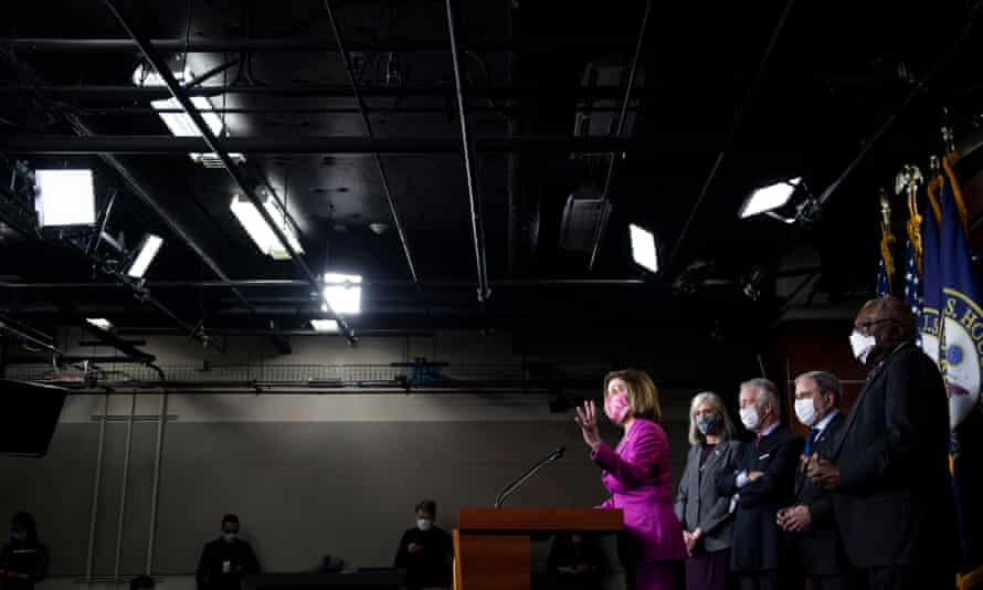 Nancy Pelosi speaks to the press about the Covid relief package.