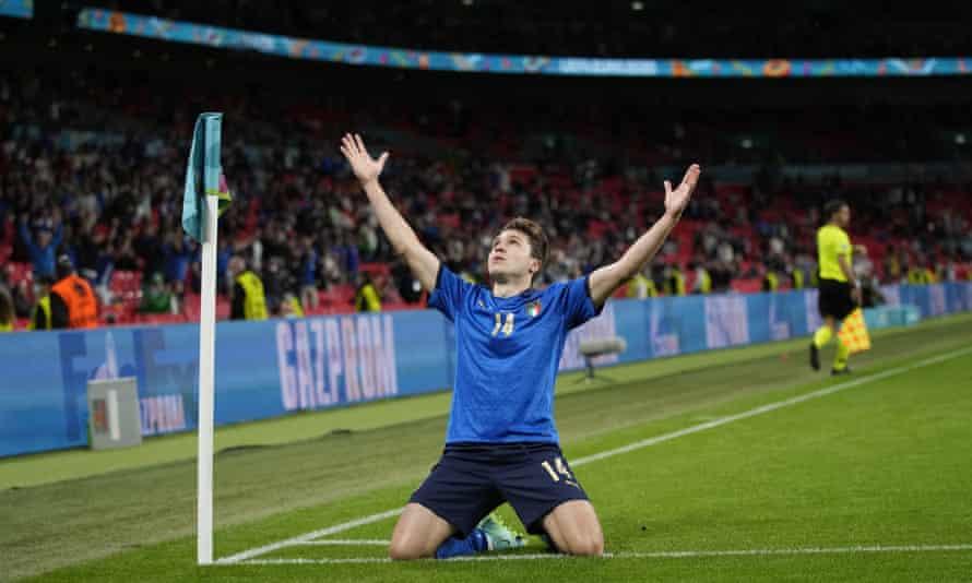 Italy's Federico Chiesa celebrates his goal against Austria