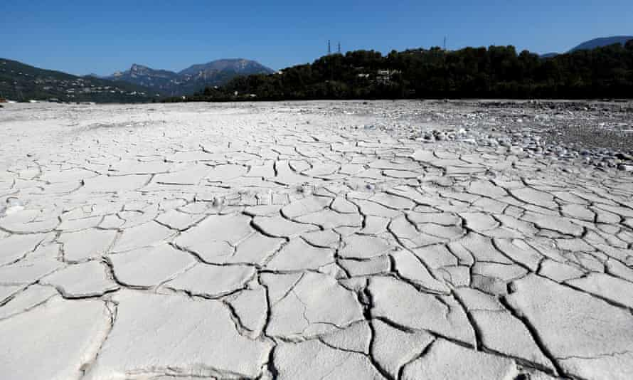 Parts of the Var riverbed have dried up owing to low water levels and recent hot temperatures in Carros, southern France.