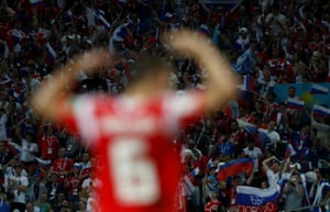 Denis Cheryshev celebrates after scoring against Croatia in the World Cup quarter-finals.