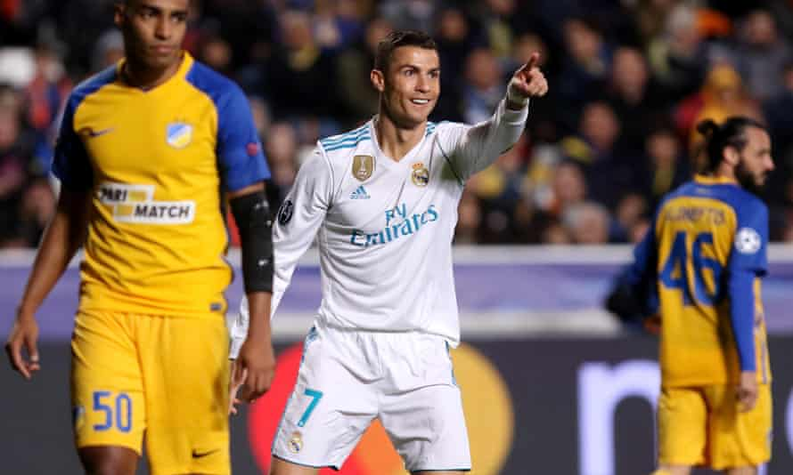 Cristiano Ronaldo celebrates a goal against Apoel Nicosia as Real Madrid ran out 6-0 winners in the Cypriot capital.