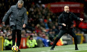 José Mourinho could not halt the winning run of Pep Guardiola's Manchester City, whose 2-1 win at Old Trafford was a record-equalling 14th consecutive Premier League victory.