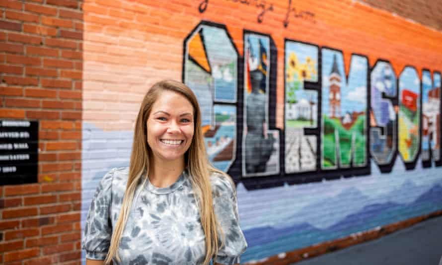 Katie Green, office manager of Tiger Properties, stands near her office on College Ave in Clemson.