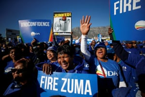 Cape Town, South Africa Opposition supporters march before a vote on a no-confidence motion against President Jacob Zuma