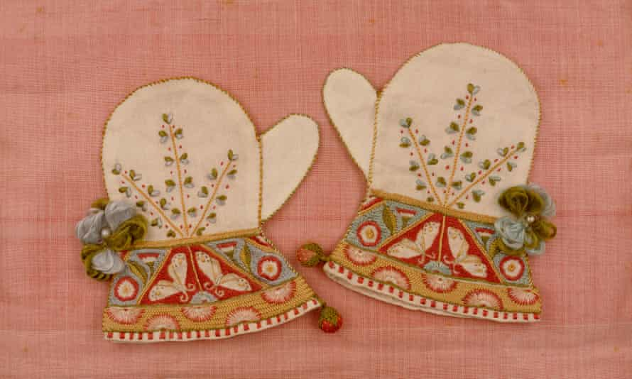 Mittens designed by Charles Ricketts, embroidered by May Morris