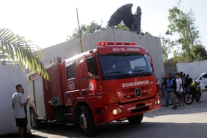 A fire engine in front of the Flamengo training centre in Rio de Janeiro