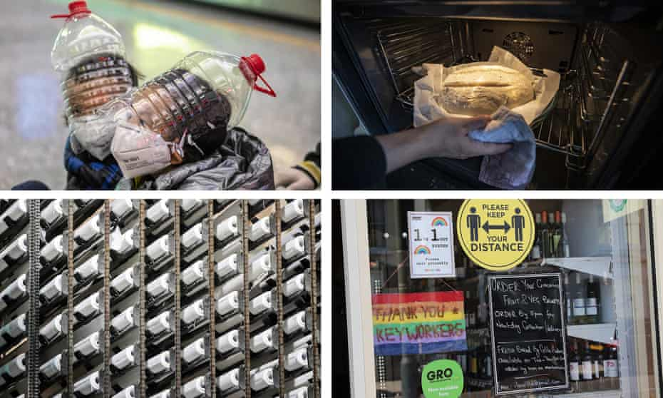 Clockwise from top left: improvised visors; sourdough bread; shop signs; loo roll.