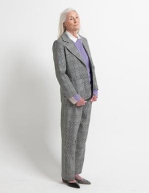 Model wears blazer, £265, and trousers, £205, ganni.com. Jumper, £69, cosstores.com. White shirt worn underneath, £12.99, hm.com. Pumps, £240, essentiel-antwerp.com