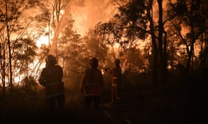 Firefighters fight flames close to homes in Corryton Court, Wattle Grove in Sydney.