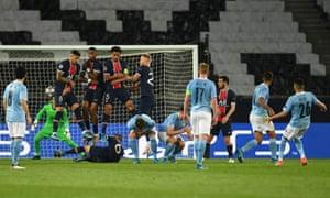 Riyad Mahrez of Manchester City scores their side's second goal past Keylor Navas of Paris Saint-Germain.