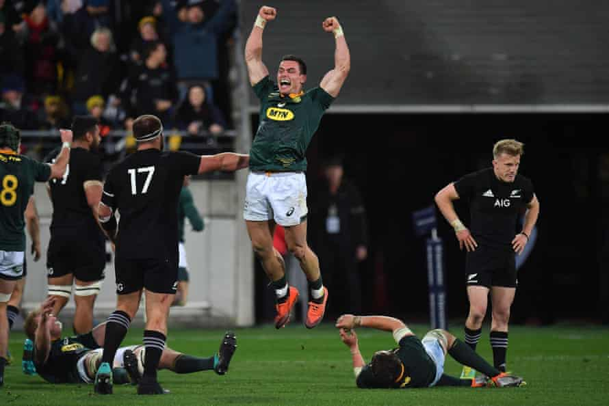 South Africa's Jesse Kriel jumps for joy at the final whistle.