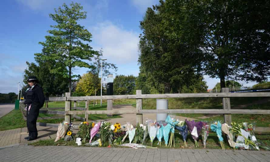 Floral tributes at Cator Park in Kidbrooke, south London, near to the scene where Sabina Nessa's body was found.