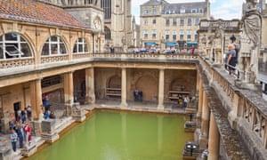 The Great Bath at the Roman Baths in Bath, Somerset England United Kingdom UK