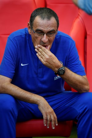Chelsea manager Maurizio Sarri looks dejected at the end.