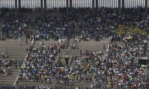 Empty seats during the ceremony at the National Sports Stadium.