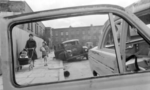 Abandoned cars on Walworth Road in London, May 1966