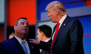 Chris Christie with Donald Trump during a Republican presidential debate in Cleveland in August.