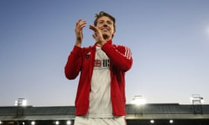 Sander Berge applauds the Sheffield United fans after their win over Crystal Palace.