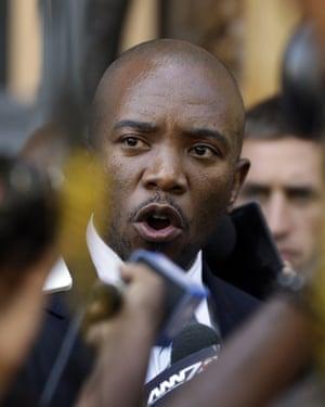Democratic Alliance Mmusi Maimane outside court on Thursday.
